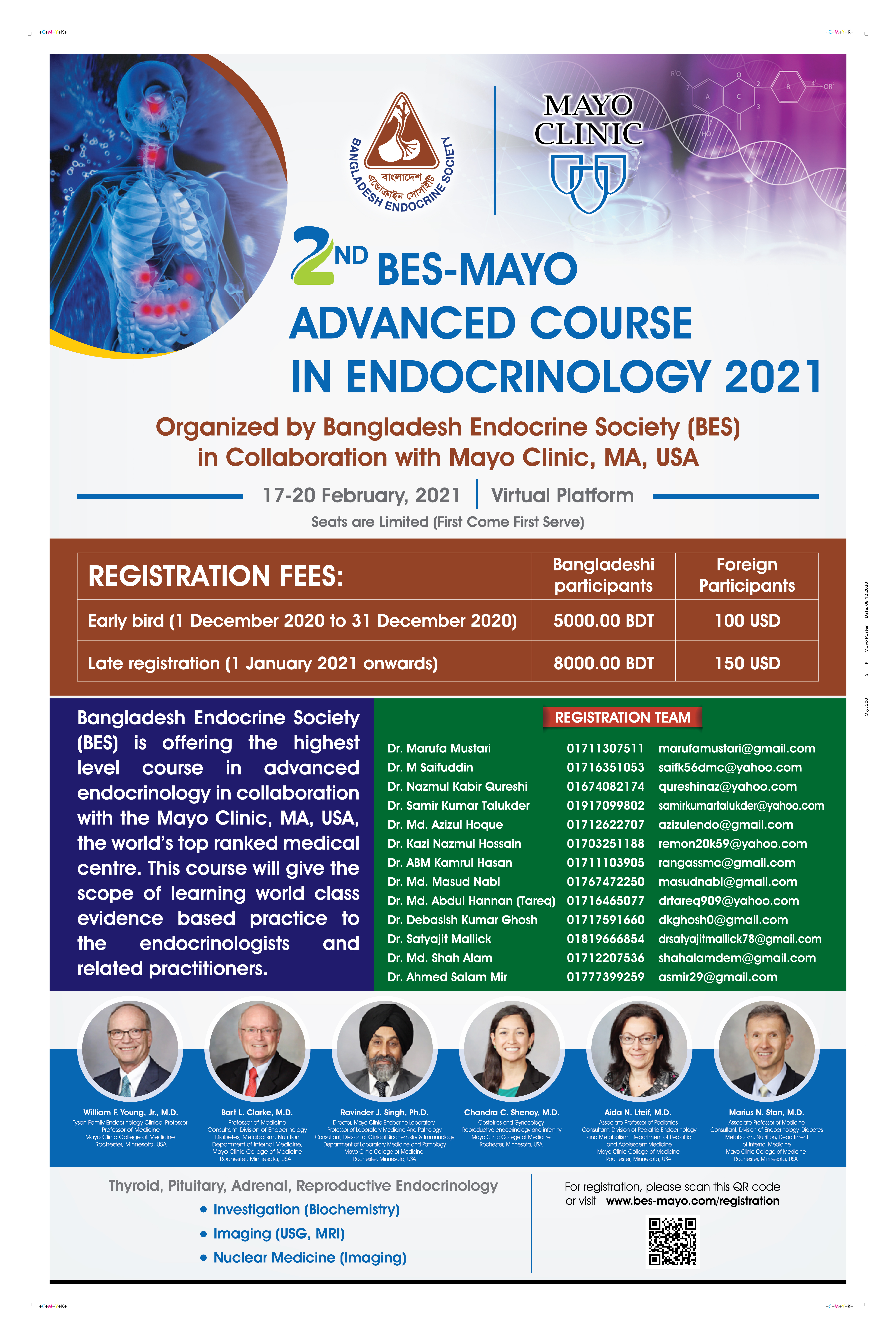 Registration Of 2nd BES-MAYO Advanced Course In Endocrinology 2021